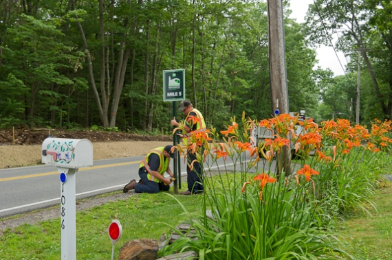 Mile Markers placed for TD Beach to Beacon 10K Road Race. Photo courtesy of Photography by Ann Kaplan